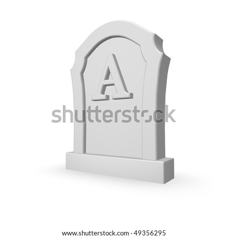 gravestone with uppercase letter A on white background - 3d illustration