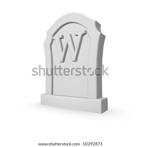 gravestone with uppercase letter w on white background - 3d illustration