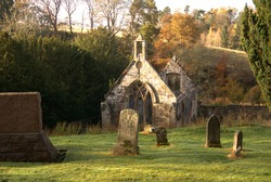 gravestones and ruined church at Temple, Midlothian, Scotland