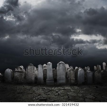 Graveyard at night. Halloween concept.