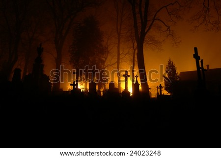 Graveyard at night in Vilnius, Lithuania, Rasos or Rasu Graveyard