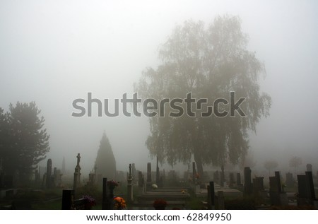Graveyard in misty day - stock photo