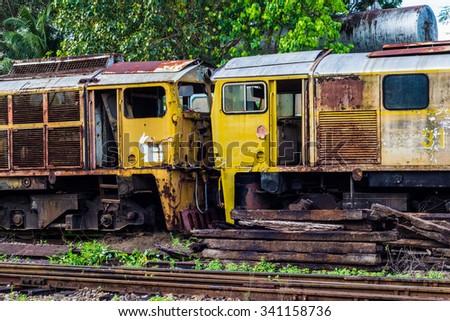graveyard of rusty old diesel...