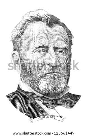Gravure of Ulysses S. Grant in front of the fifty dollar banknote