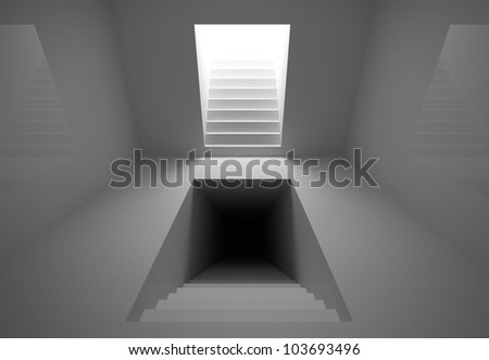 Gray abstract architecture interior with lighting and dark stairway portals going up into the light and down to the dark