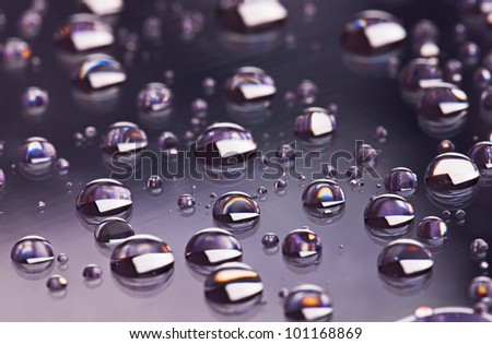 Gray abstract translucent water drops background, macro view