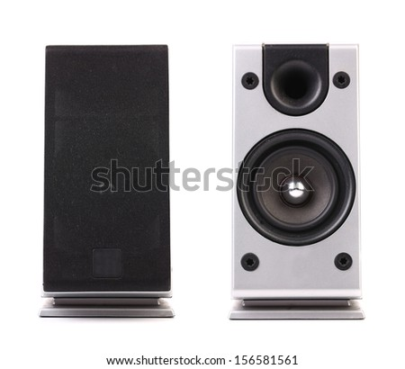 Gray and black sound speaker. Isolated on a white background.