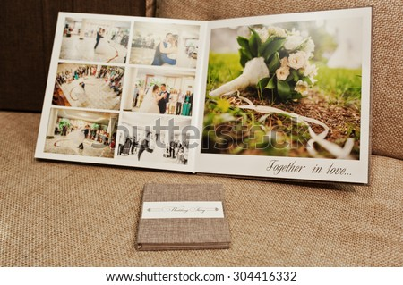 gray and brown textile velvet wedding book and album