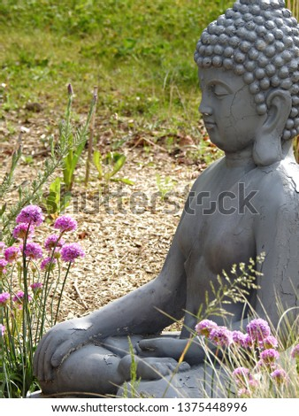 Gray and cracked stone sitting Buddha statue in bhumisparsha meditative posture with right hand on knee and other hand resting on lap. Purple thrift flowers blossoming in Zen garden environment