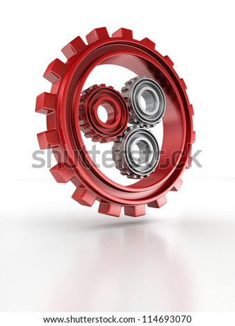 Gray and red gears as work concept on white background