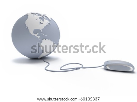 Gray and white Earth Globe oriented to America connected with a computer mouse