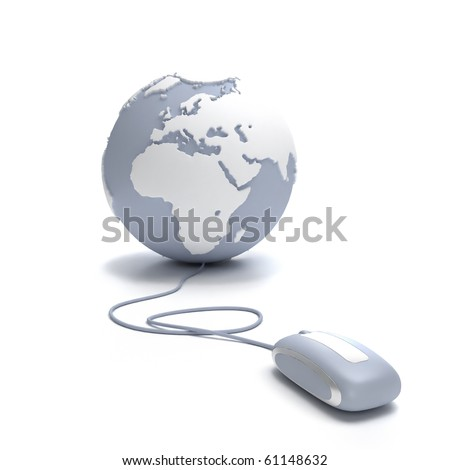Gray and white Earth Globe oriented to Europe connected with a computer mouse