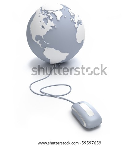 Gray and white Earth Globe oriented to the Atlantic connected with a computer mouse