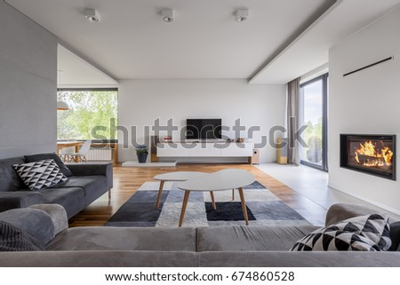Gray and white, family living room with fireplace, tv and sofa
