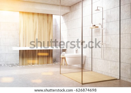 Gray bathroom interior with a wooden panel, a shower with glass walls, a double sink and a toilet. 3d rendering, toned image. #626874698