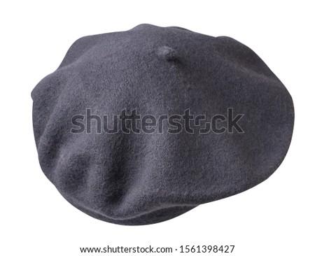 gray  beret isolated on white background. hat female beret .