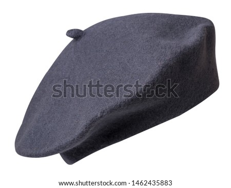 gray beret isolated on white background. hat female beret front side view  .