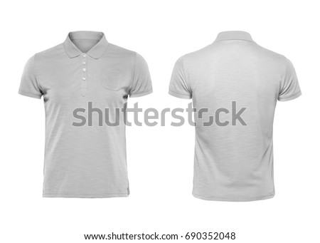 Gray blank polo t shirt template isolated on white with clipping path.