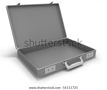 Gray briefcase opened