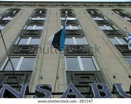 gray business house with an Estonian flag #381547