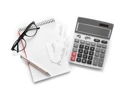 Gray calculator and notebook on white background