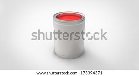 Gray can with red paint #173394371