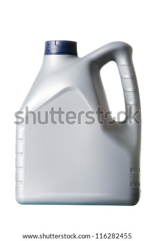 gray canister with machine oil on white background
