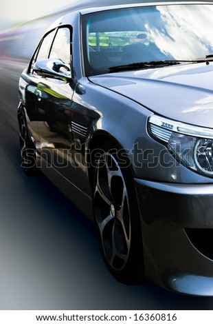 gray car with cloud reflection isolated with clipping path