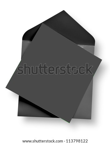 Gray card and envelope with shadow (clipping path) - stock photo