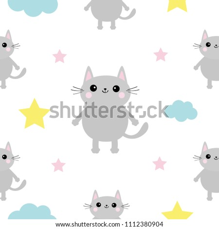 Gray Cat Head Hands Cloud Star Shape Cute Cartoon Kawaii