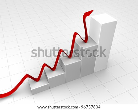 Gray chart with a red arrow, business concept, 3d render