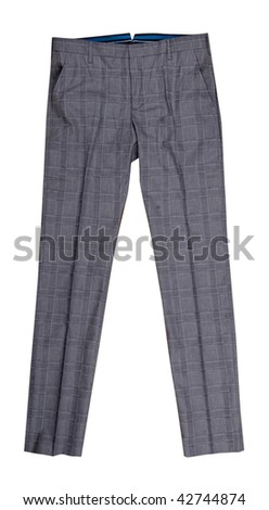 gray check trousers - stock photo