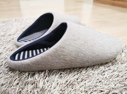 Gray color sleeper shoes on gray fur carpet.