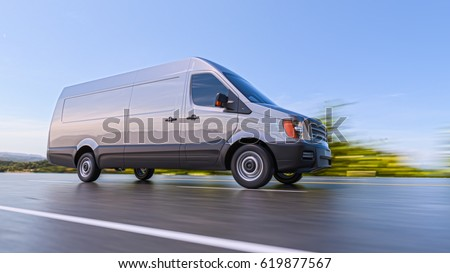 Gray Commercial Van on Highway Motion Blurred 3d Illustration Background