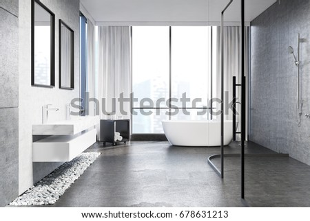 Gray concrete bathroom interior with a gray concrete floor, rubble under two marble sinks, two mirrors above them, a white tub, a shower and a panoramic window. Side view. 3d rendering mock up