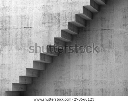 Gray concrete stairway on the wall, 3d interior background, digital graphic illustration #298568123