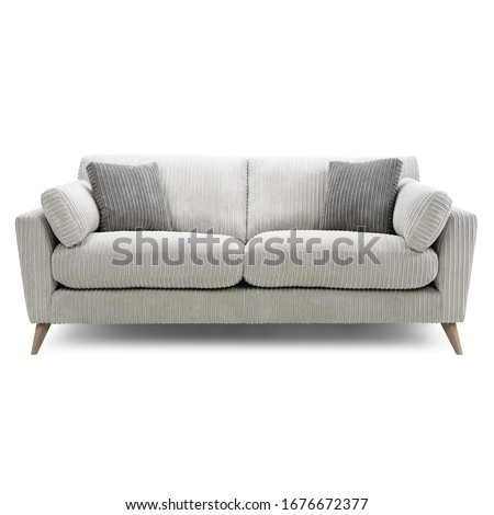Gray Cozy Sofa Isolated. Two-Seater Loveseat with Upholstery Seat & Spread Throw Pillows. Modern Upholstered Couch with Armrests. Interior Furniture. Contemporary Living Room Cuddler Chair Front View