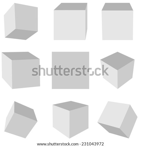 Gray cubes on a white background in different planes #231043972