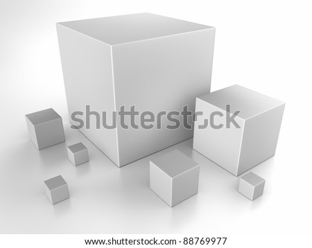 Gray cubes on white background, 3d abstract render