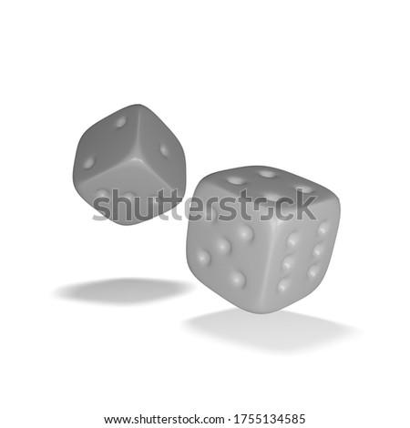 gray dice on white background Stok fotoğraf ©