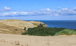 Gray Dunes's trail of Curonian Spit National Park in summer and view along Curonian Spit to north, Curonian Spit, Lithuania, Europe