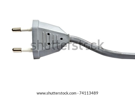 Gray electric plug isolated on white background