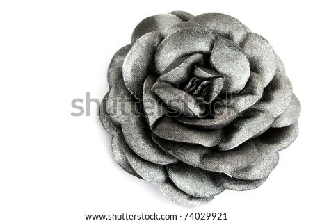 gray fabric roses isolated on white background
