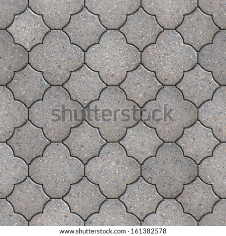 Gray Figured Pavement as Flower with Four Petals. Seamless Tileable Texture.