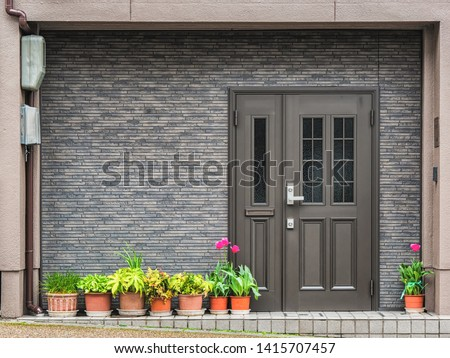 Gray front door with small square decorative windows and flower pots in fron of it
