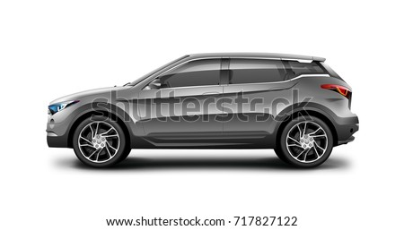 Gray generic SUV car. Off Road Crossover with glossy surface on white background. Side view with isolated path. 3d illustration.