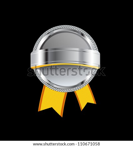 Gray glossy glass round badge / banner with metallic decoration and yellow ribbons - raster version