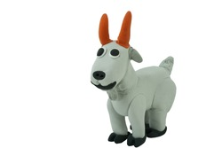 gray goat made from plasticine