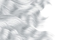 Gray hair on white, isolated