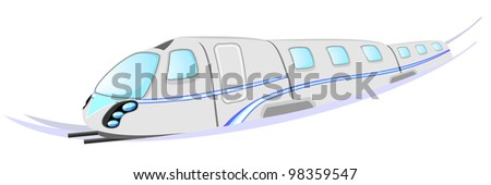 Gray high speed train with blue stripe and rails